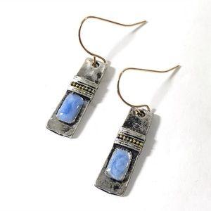 BRAND NEW Blue Silver Gold Dangle Earrings